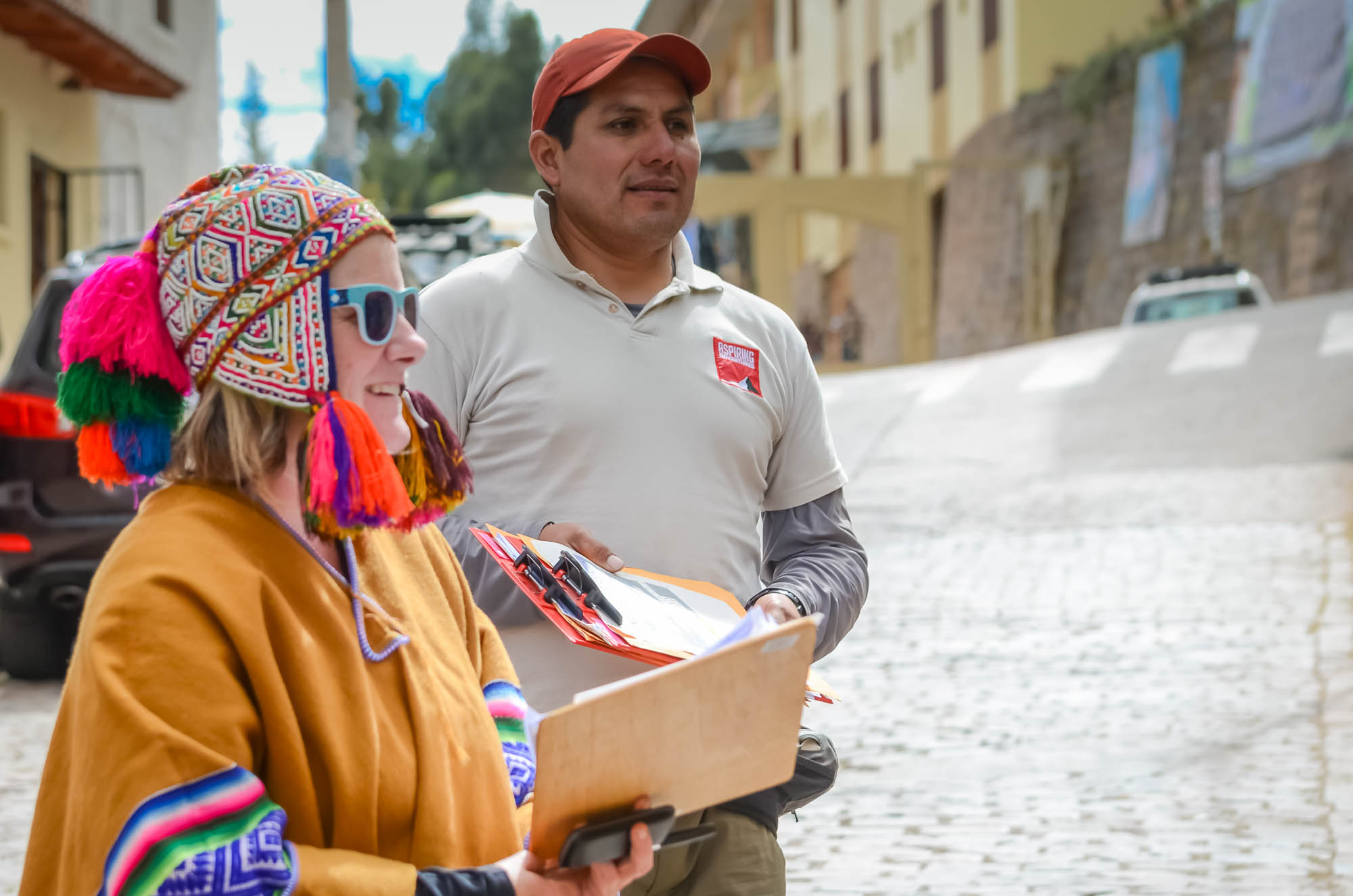 Co-founder Katy Shorthouse and guide Aldo Sanchez managing one of our private Peru tours