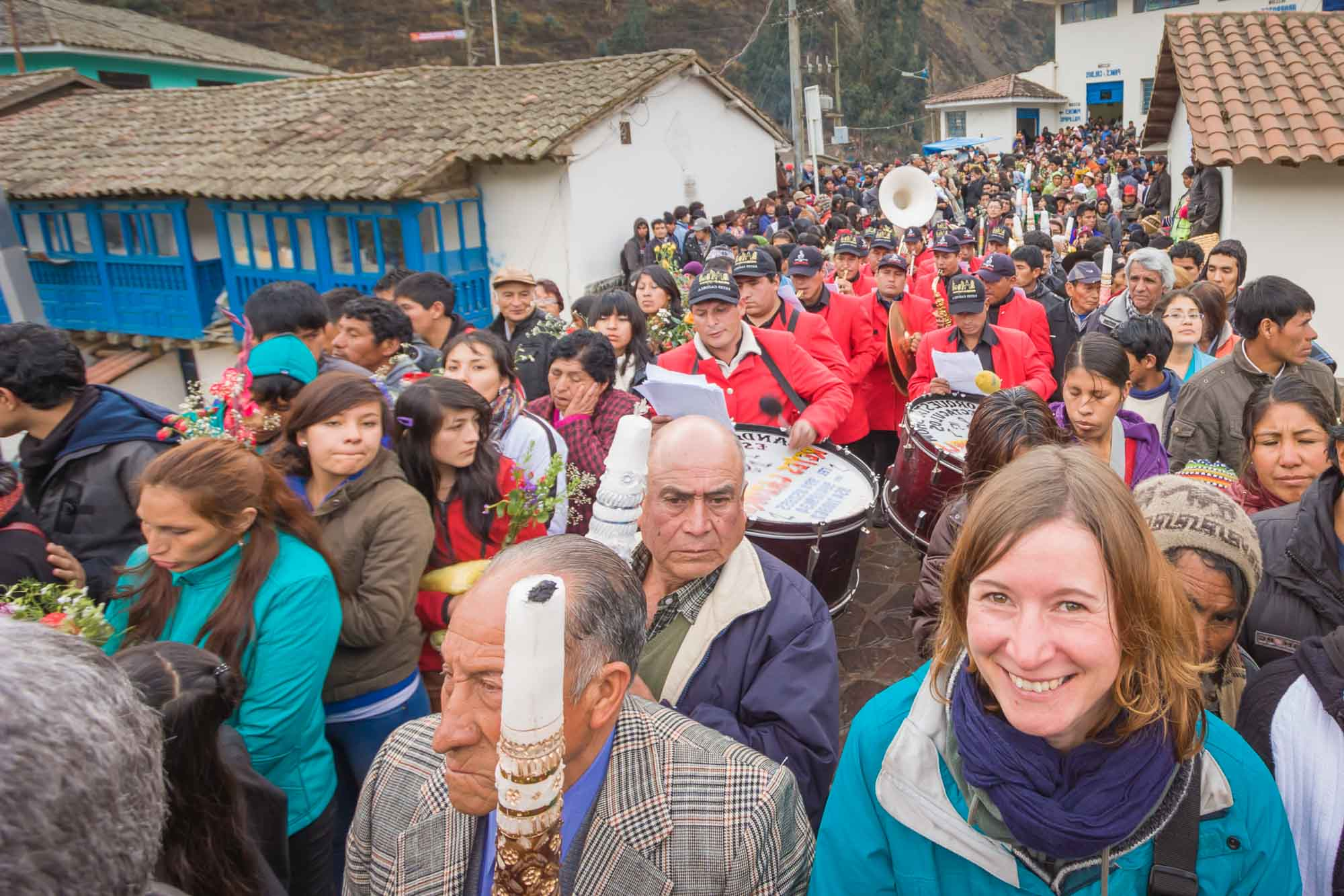 Aspiring guest Elke in the thick of the action on our Paucartambo cultural tour in Peru