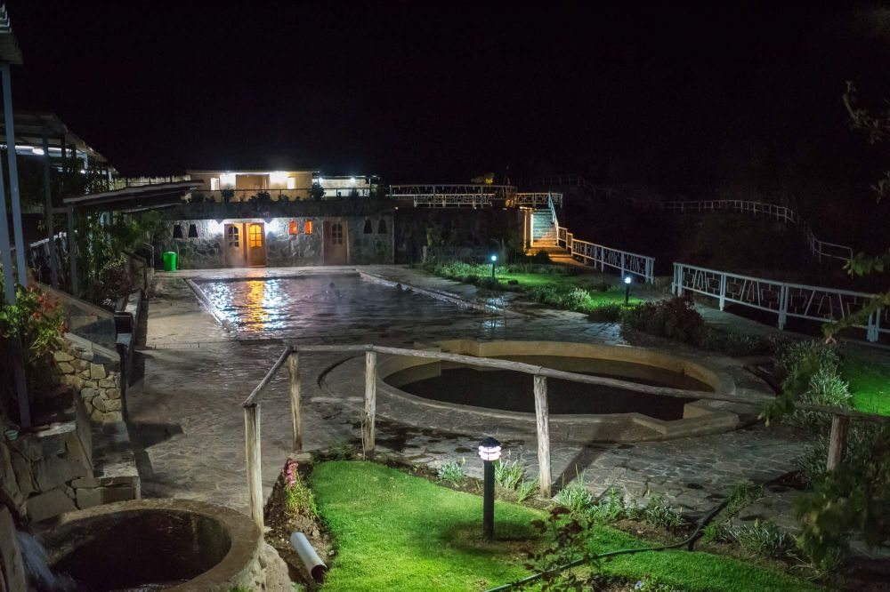 The stunning Lares hot springs, our campsite!