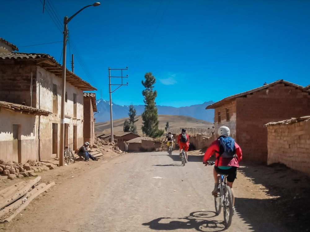 Biking through rural, small town Peru