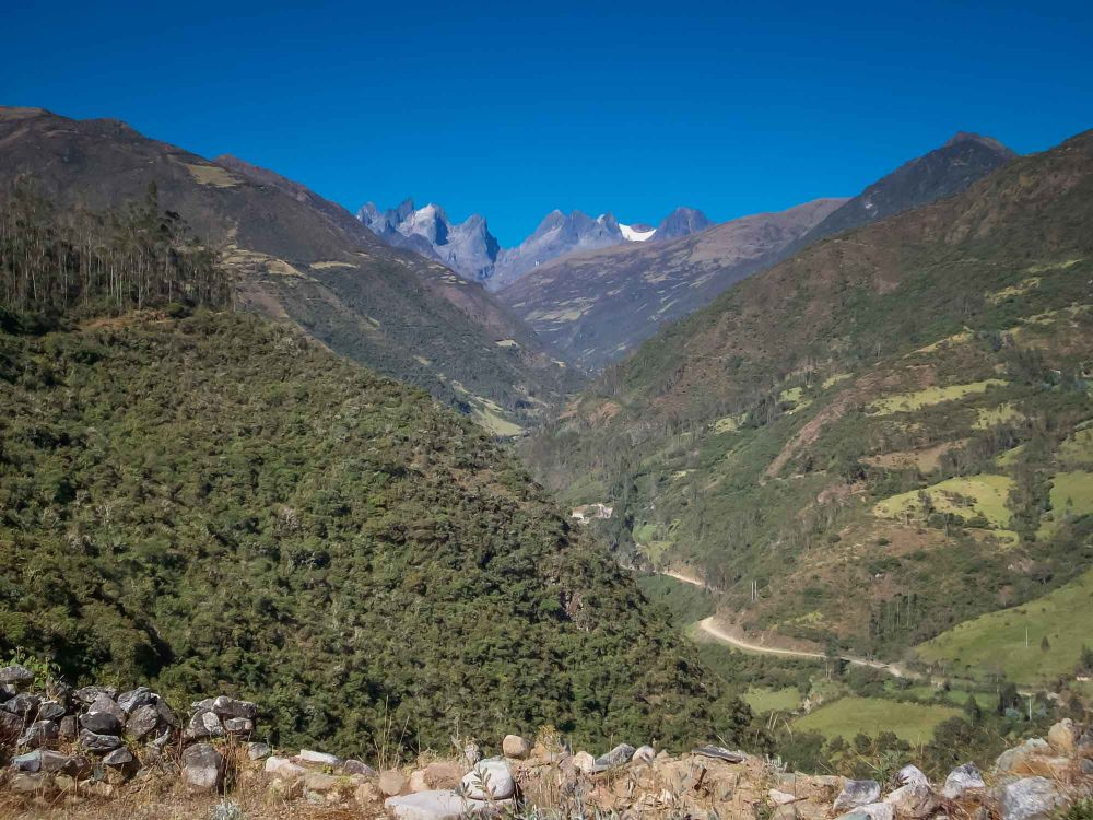 Santa Teresa scenery with 6270m (20,570 ft) Salkantay mountain in the background