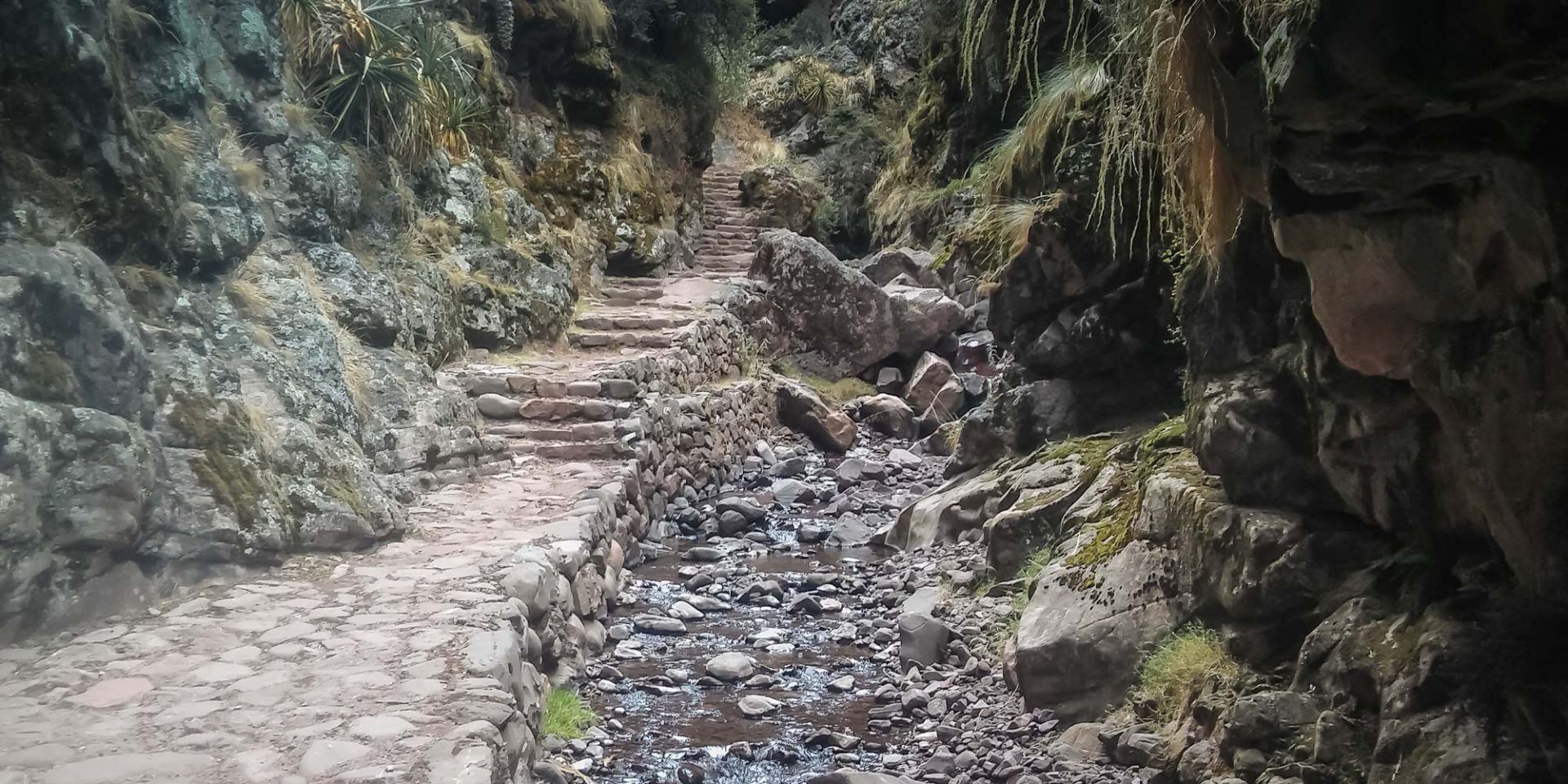 Section of paved gorge path on the 2 day inca trail